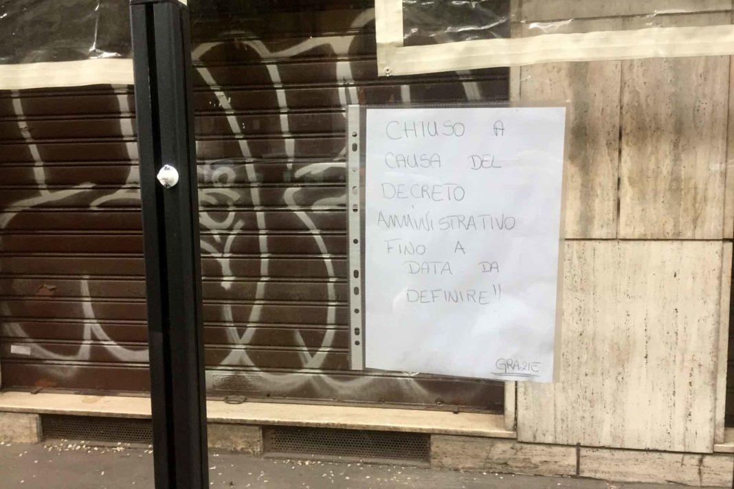 ristorante chiuso per coronavirus