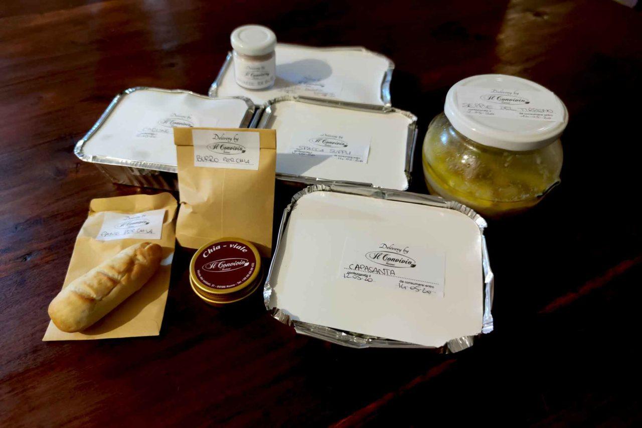 I piatti consegnati con il delivery del Convivio Troiani