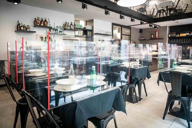 ristorante divisori plexiglass