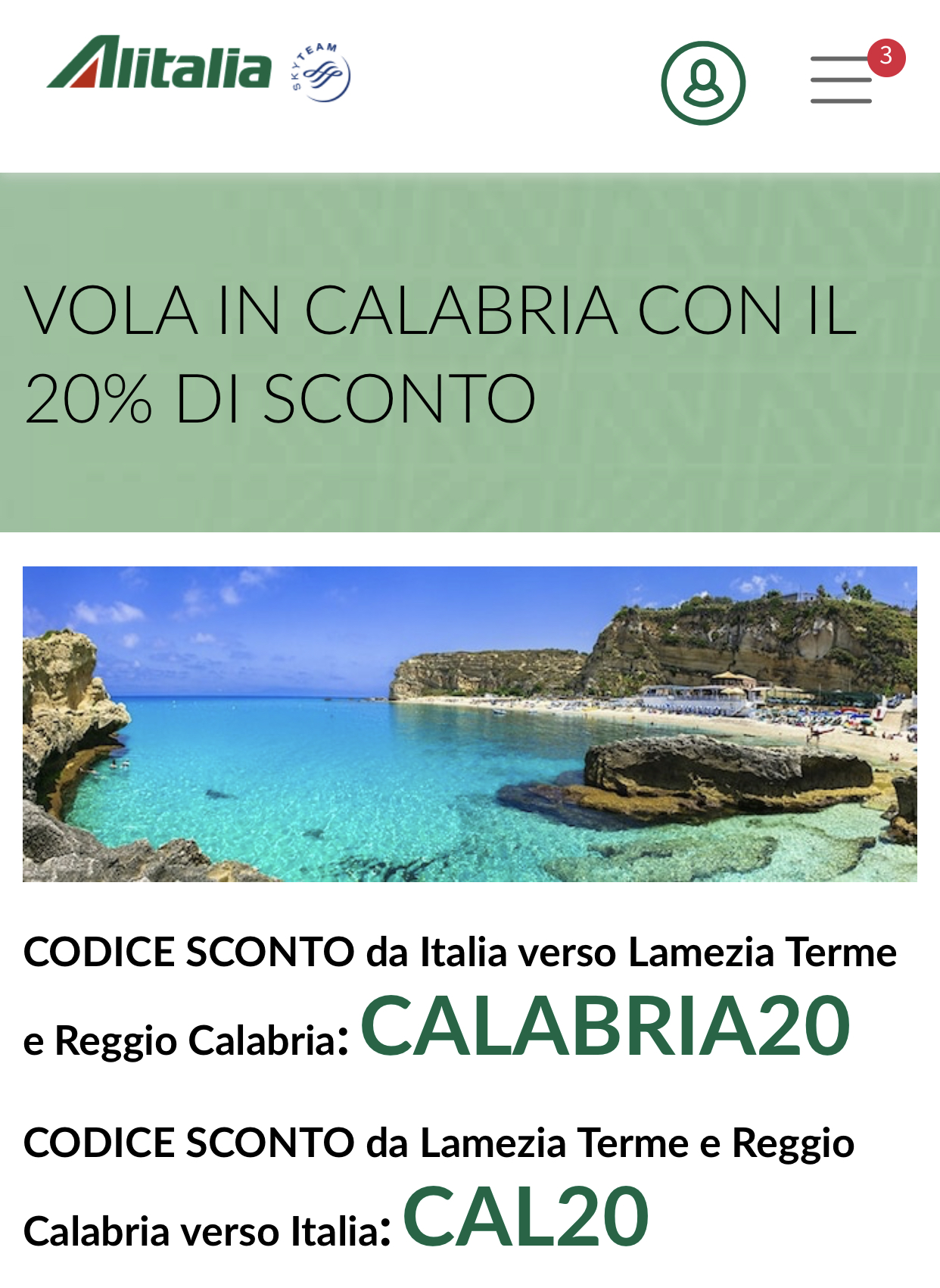 Alitalia promuove i voli in Calabria