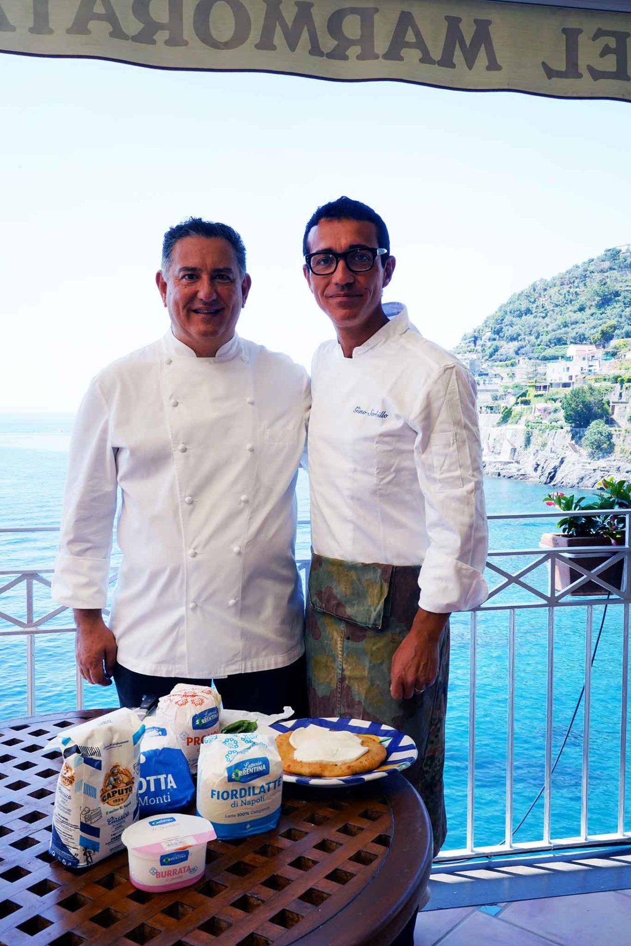 Sal De Riso e Gino Sorbillo con fiordilatte e farina di Napoli