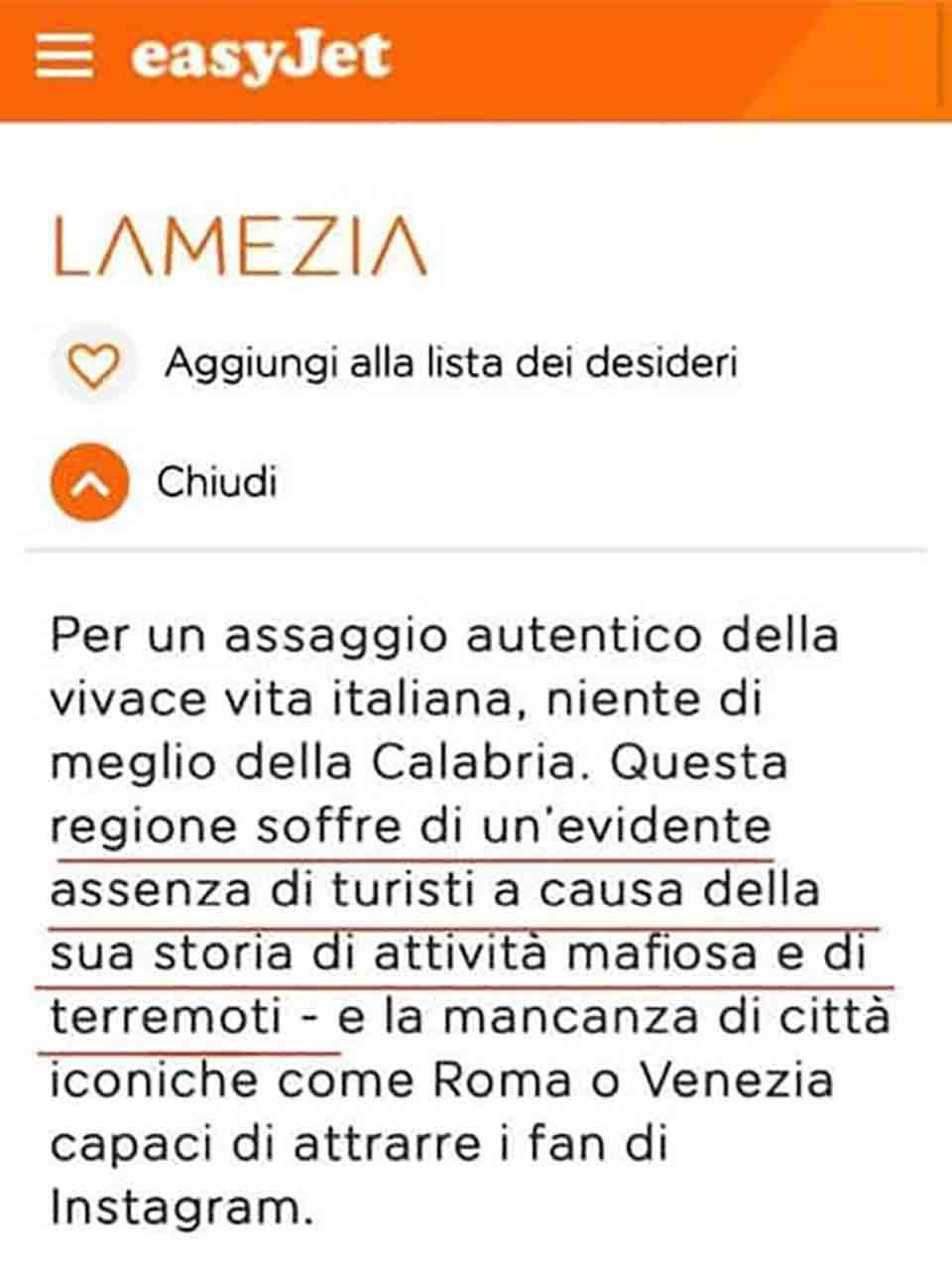 Easyjet insulti Calabria