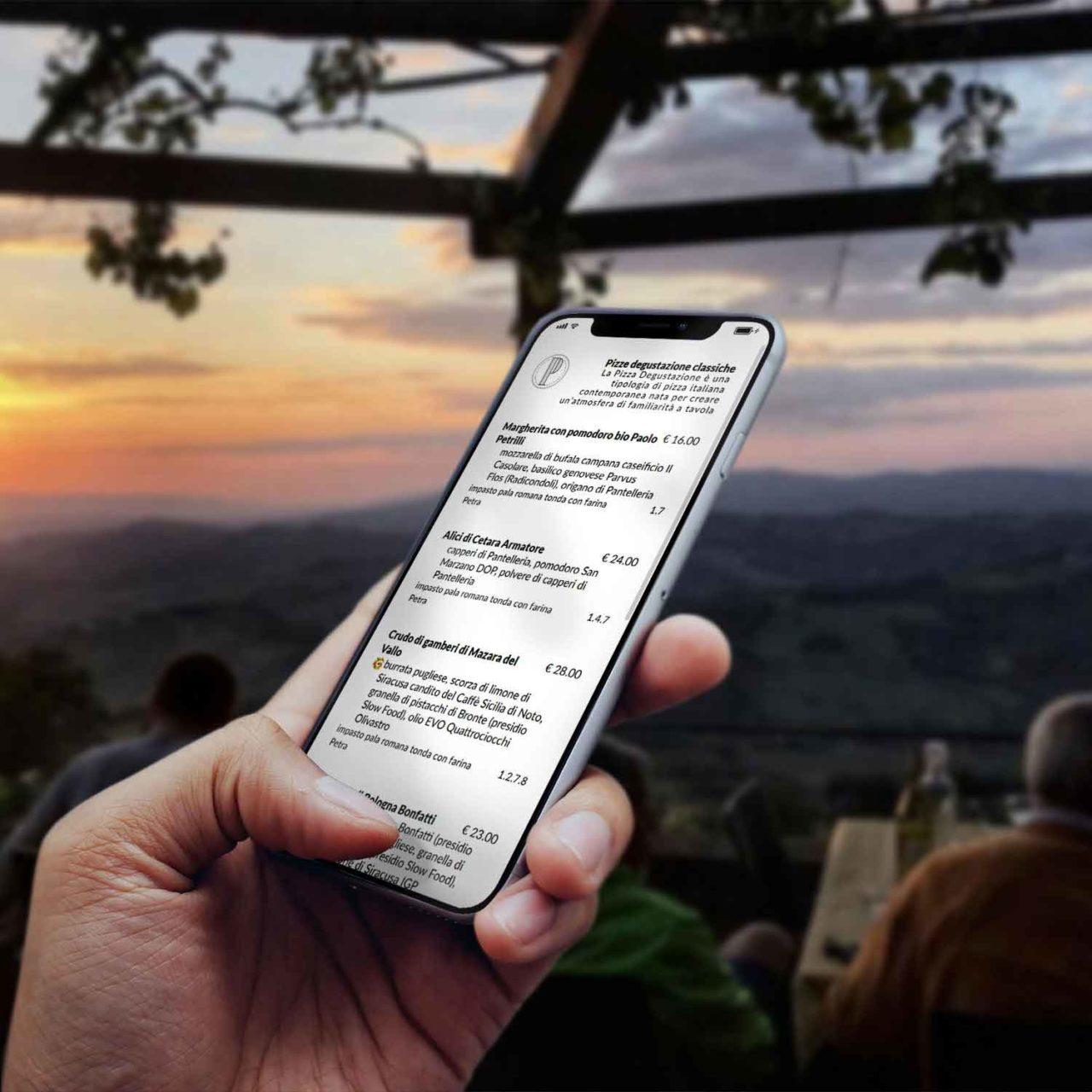 menu sul telefonino