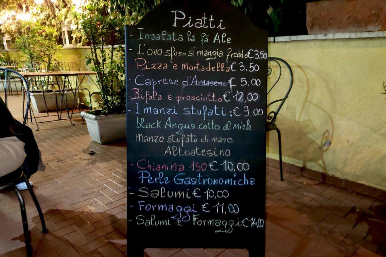 menu dell'enoteca sfuso a centocelle
