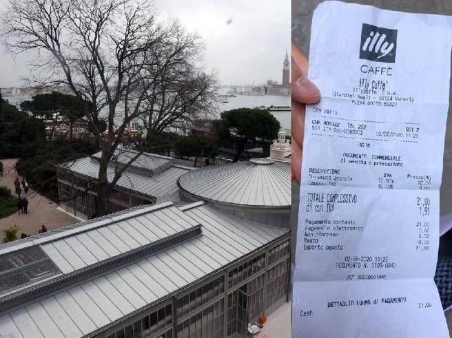 scontrino 21 euro cappuccino spremuta Venezia