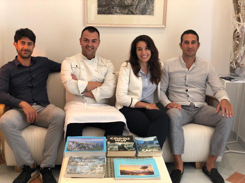 giovani di casa Pollio - Marcello, Pierpaolo e Mariangela - e lo chef Davide Ciavattella