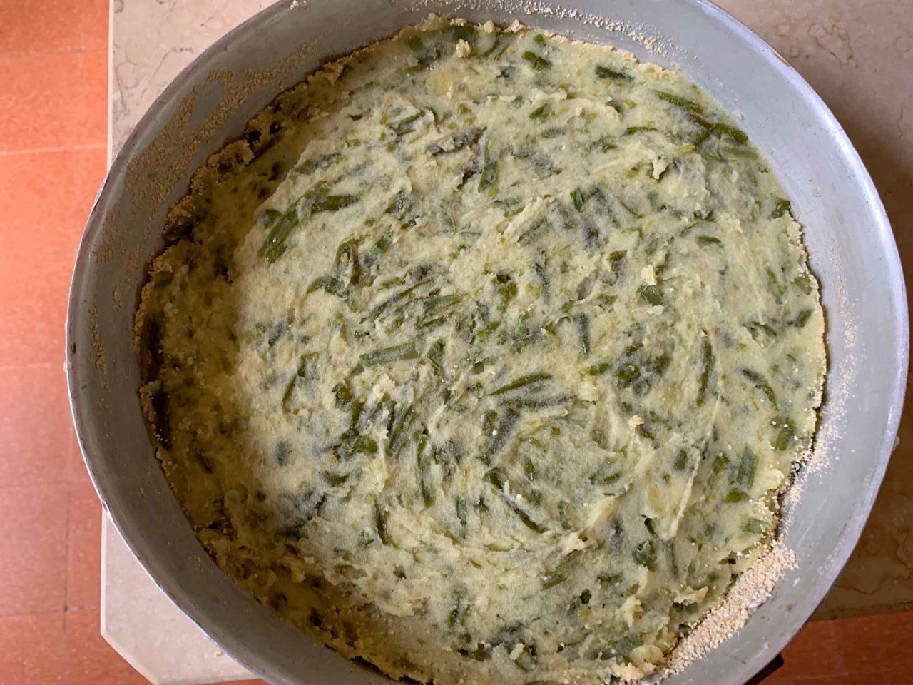 preparazione polpettone fagiolini patate