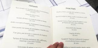 Giacomo Pietrasanta carta antipasti e primi