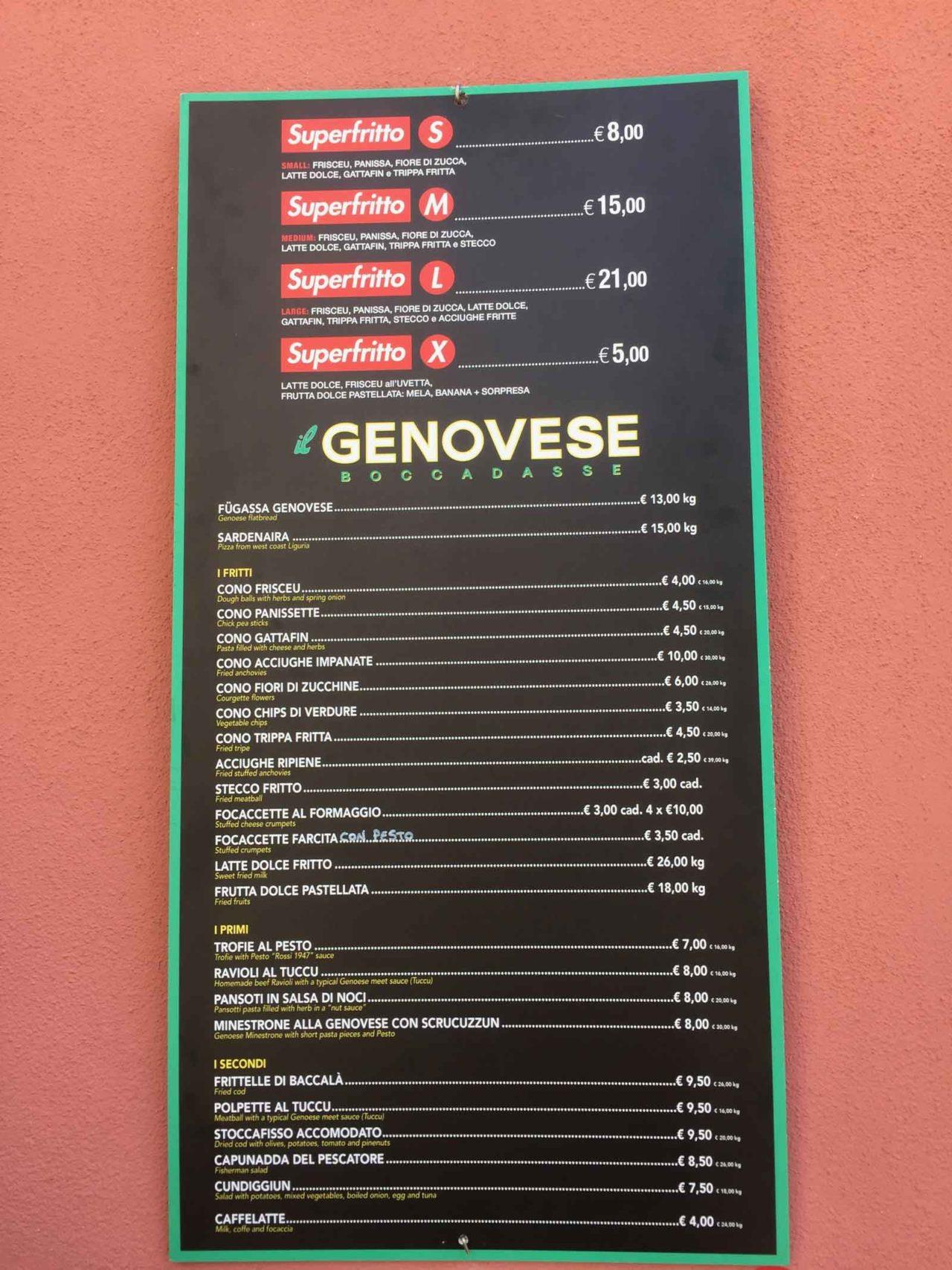 il genovese boccadasse  menu