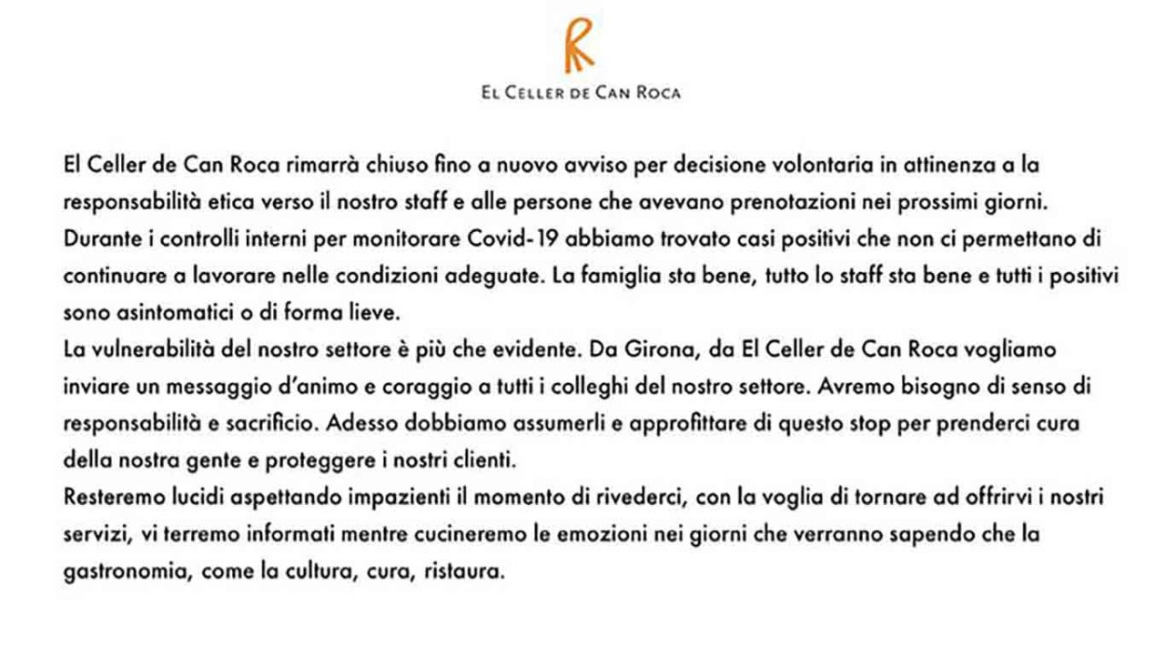 chiusura covid El Celler de Car Roca messaggio