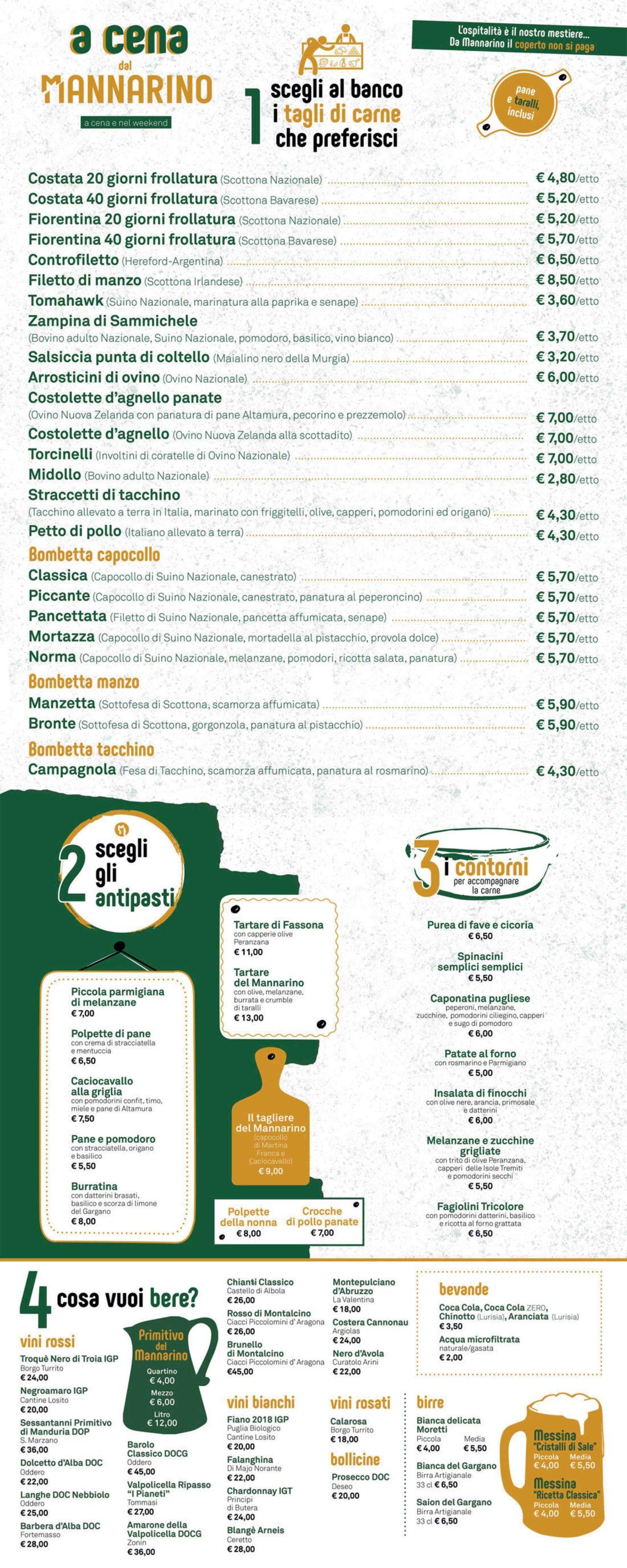 menu cena mannarino