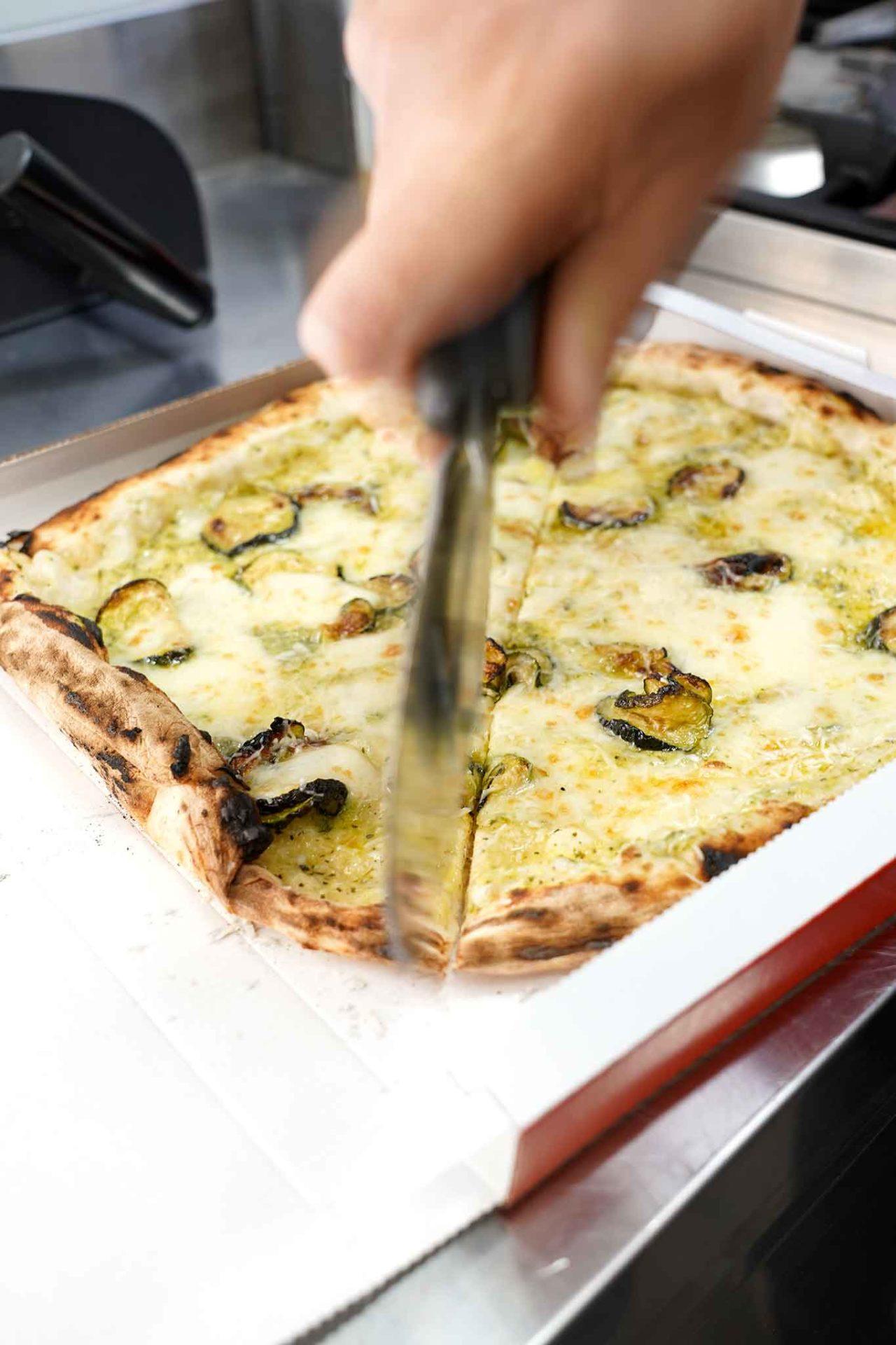 pizza Nerano cartone asporto delivery taglio