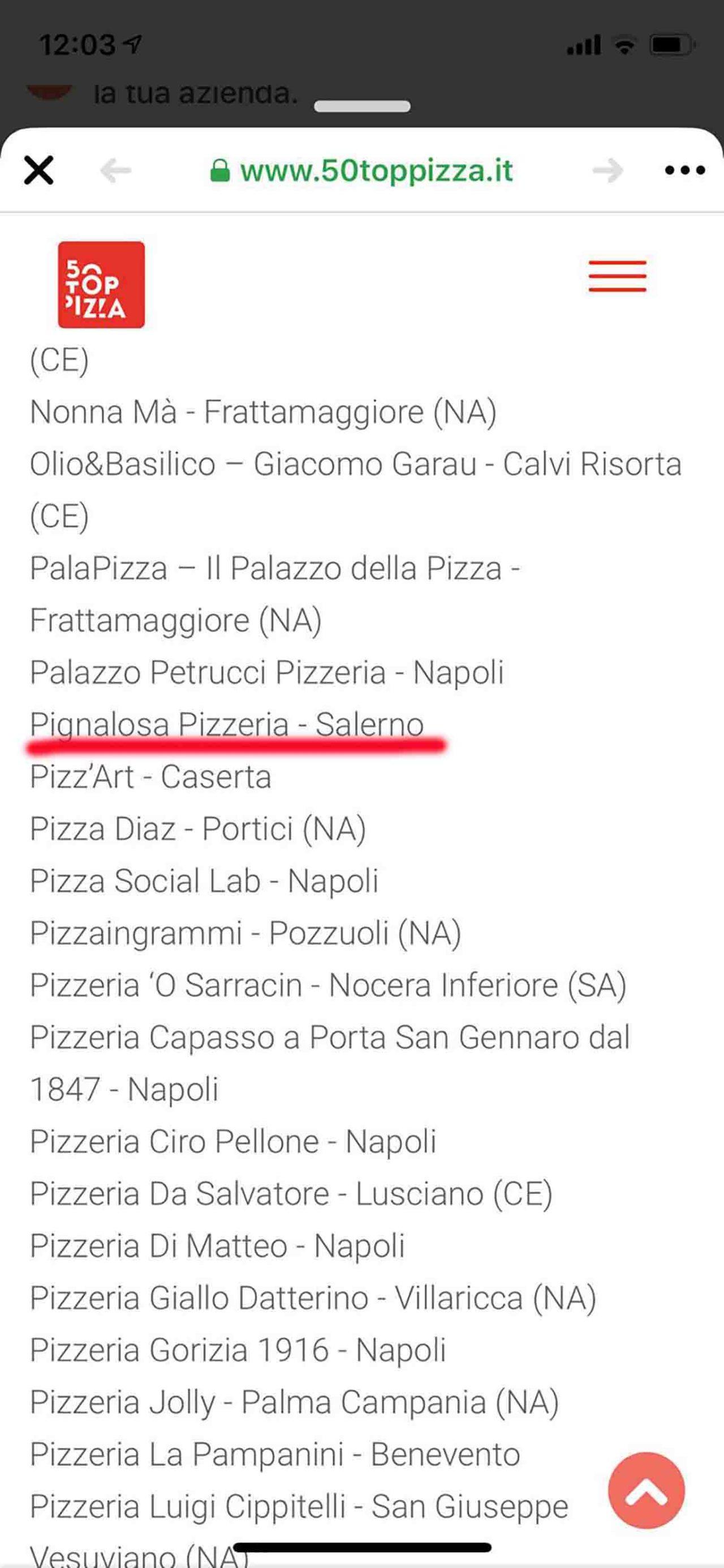 pizzeria Pignalosa Salerno errore 50 Top Pizza