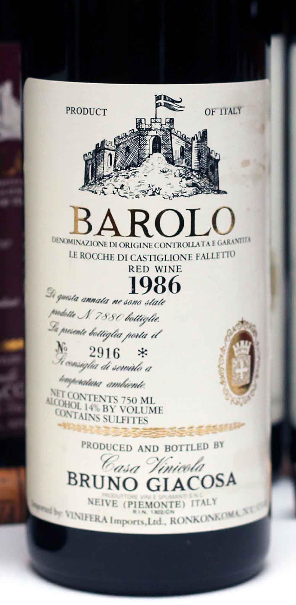 Vini italiani Barolo Giacosa