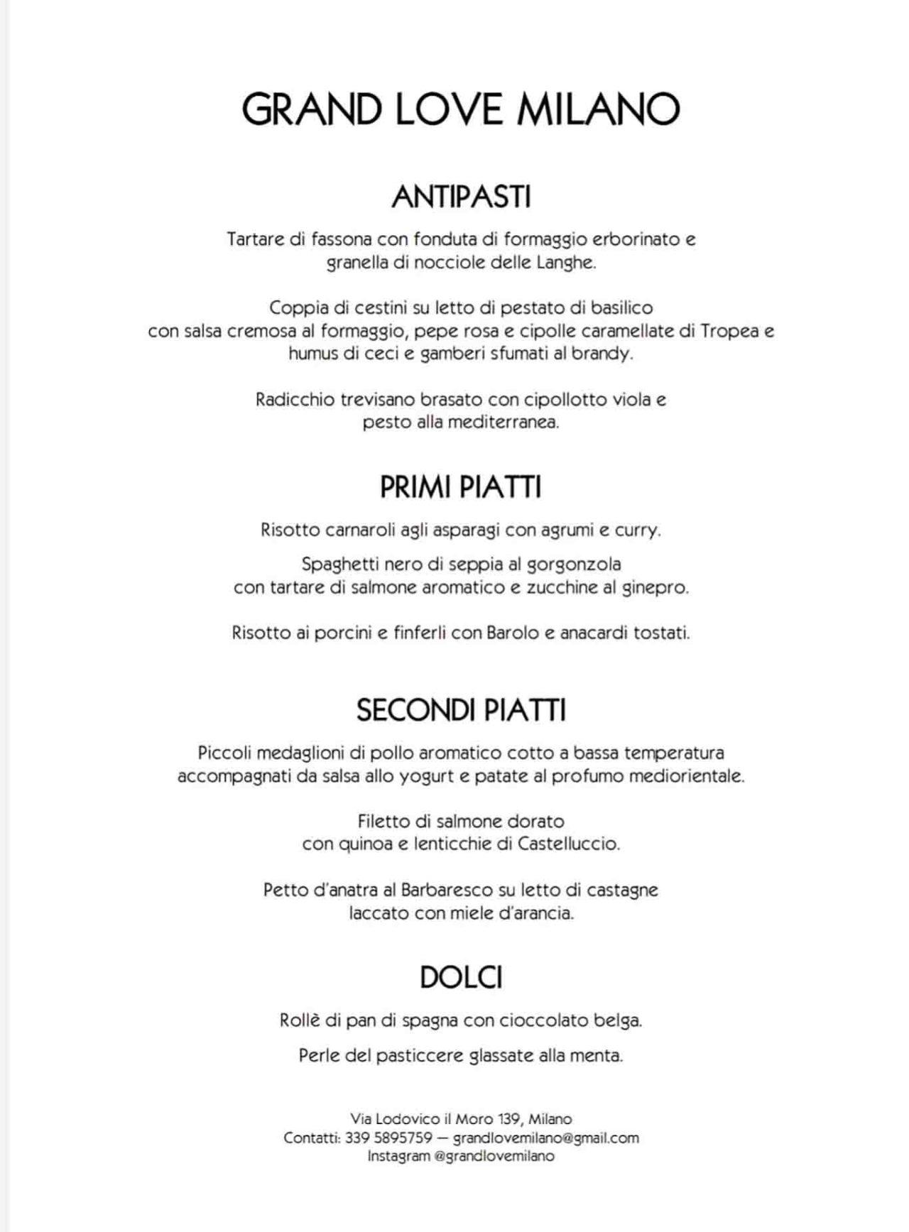 menu del ristorante con un solo tavolo a Milano