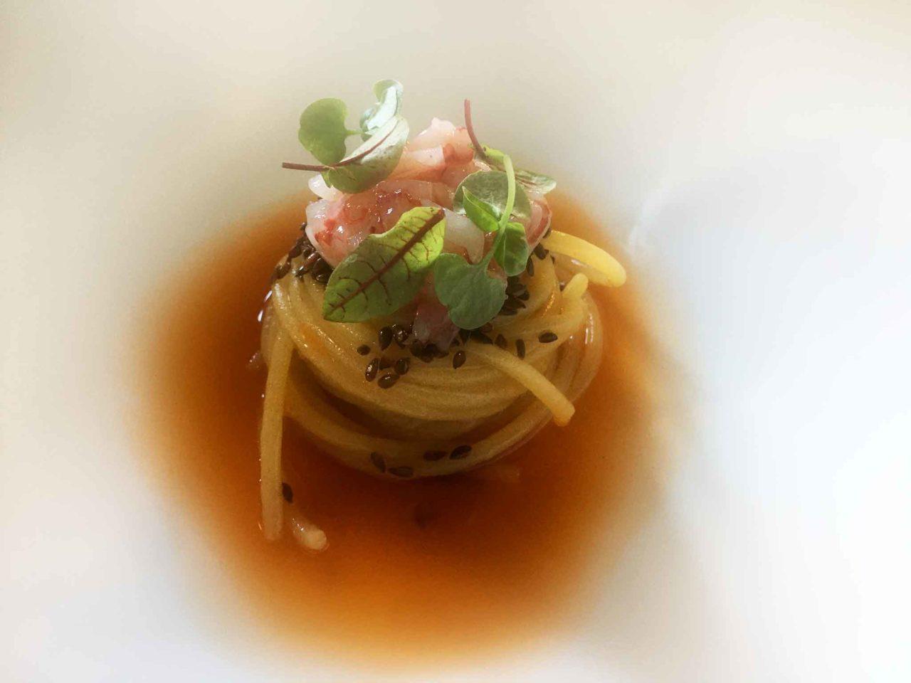 spaghetti gamberi Taverna Estia ristorante Brusciano Napoli