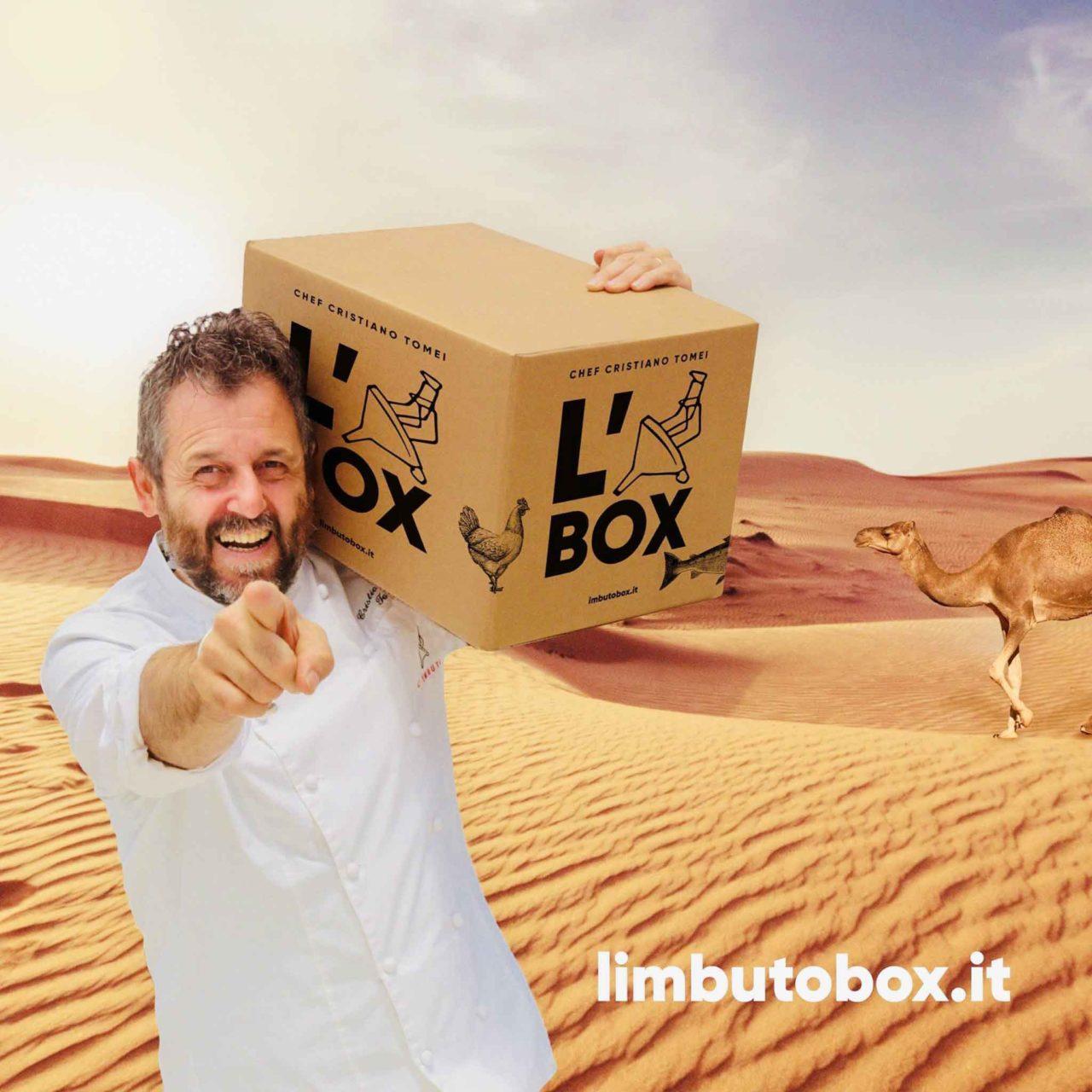 Cristiano Tomei e a il box a domicilio del ristorante stella Michelin L'Imbuto