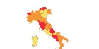 Italia a zone colori 29 novembre