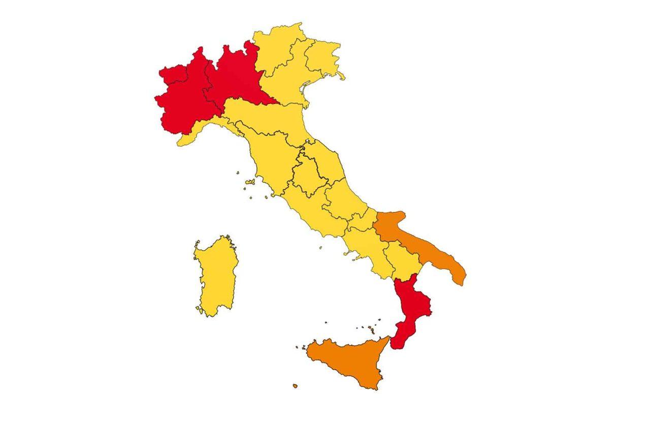 Italia zone gialle arancioni rosse al 9 novembre