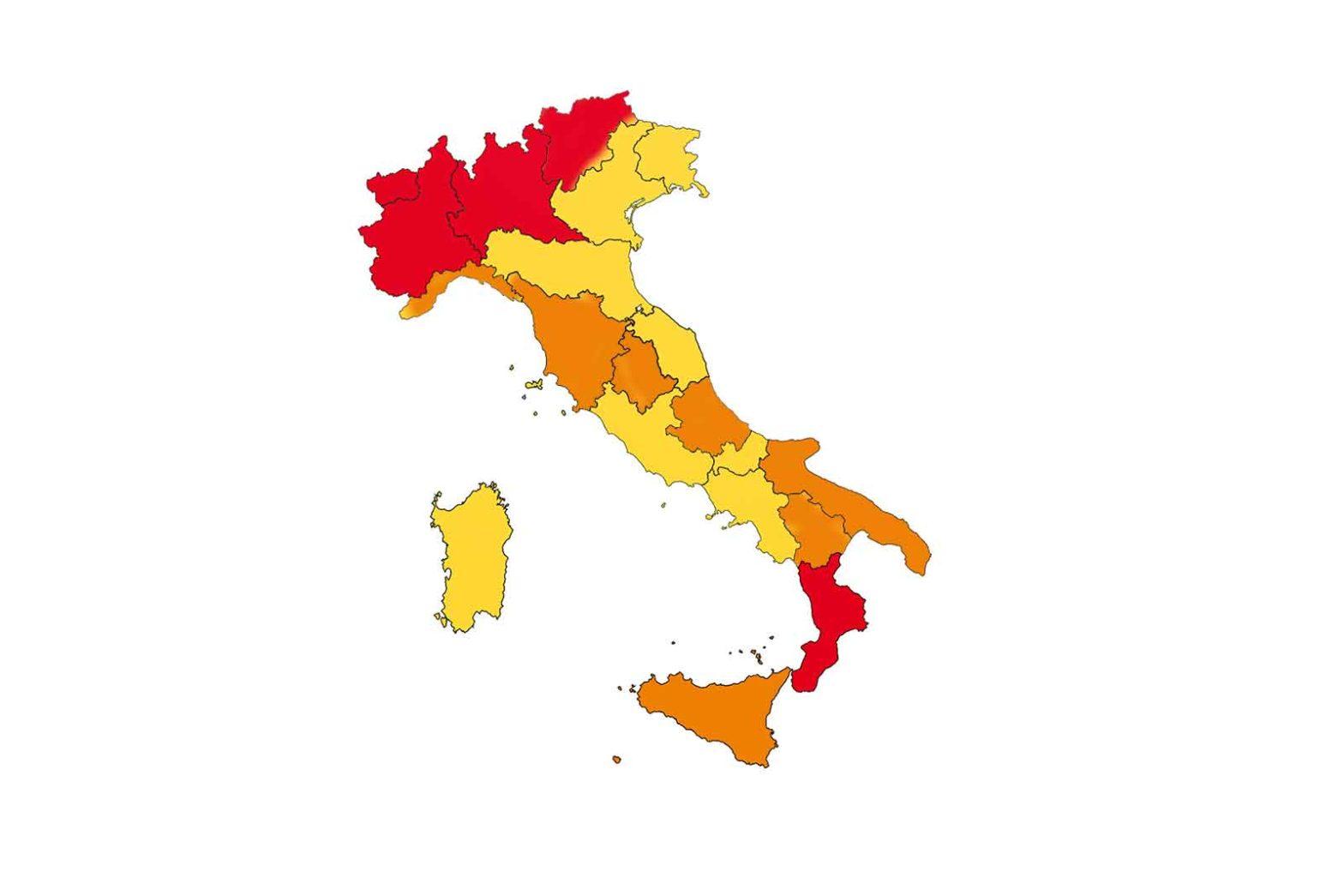 Italia zone rosse arancioni gialle dal 9 novembre 2020