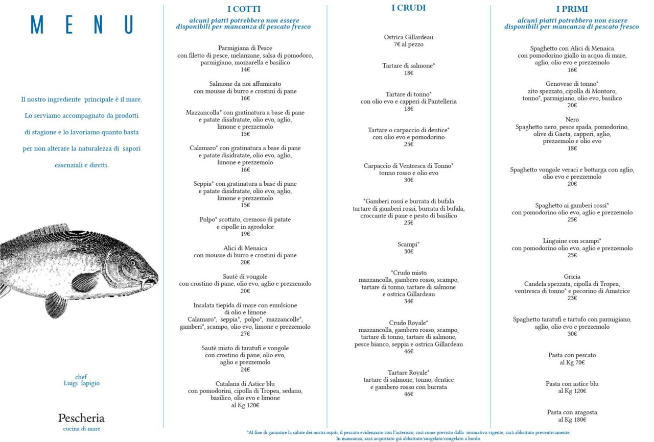 menu e prezzi Pescheria Salerno