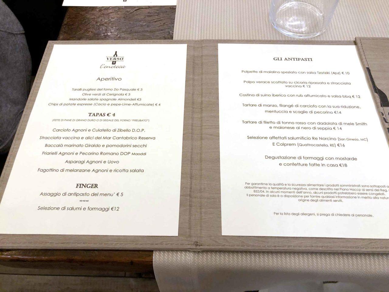 Enoteca Verso Roma menu prezzi