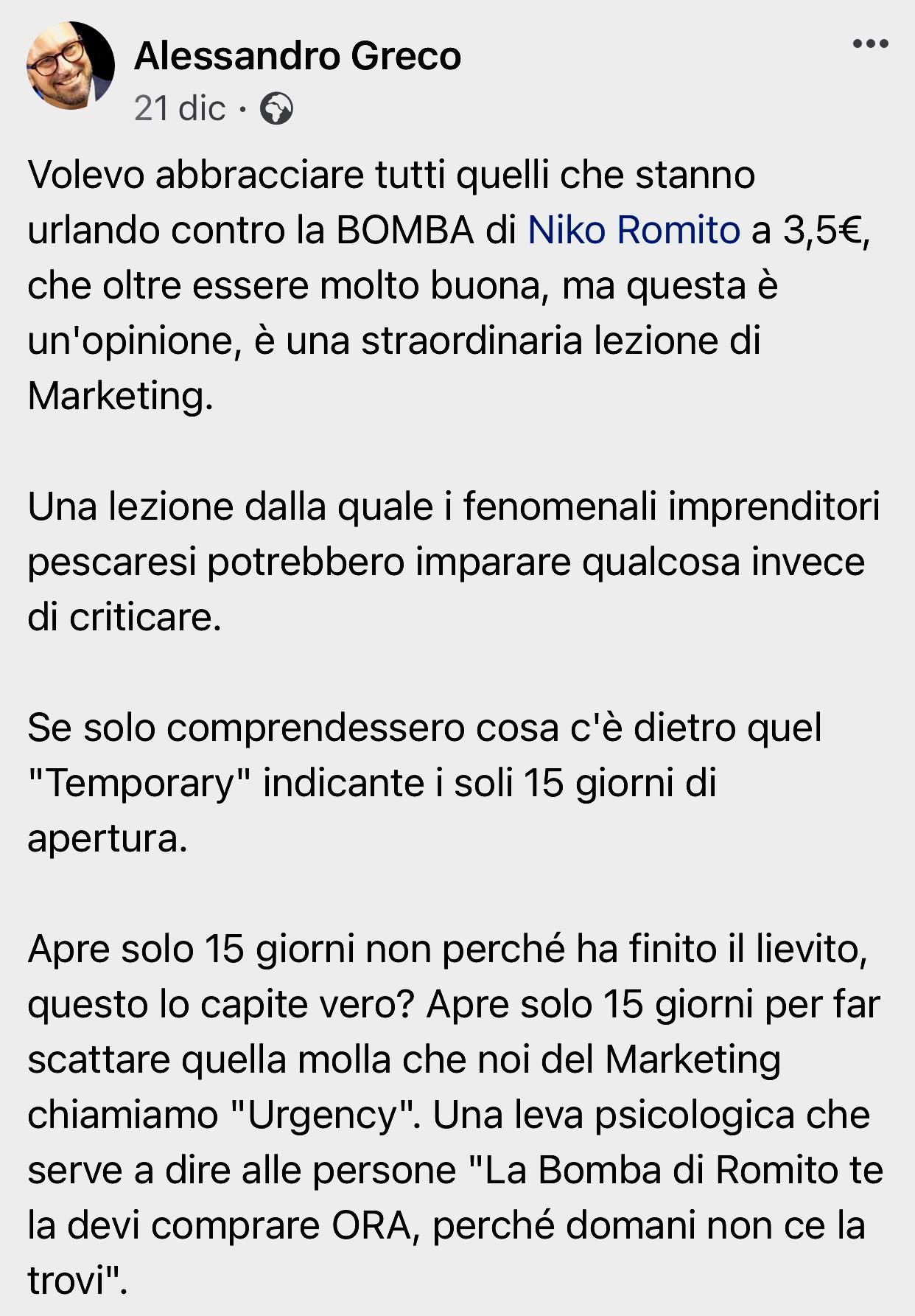 Bomba Niko Romito marketing