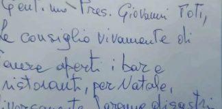 Lettera minatoria Covid