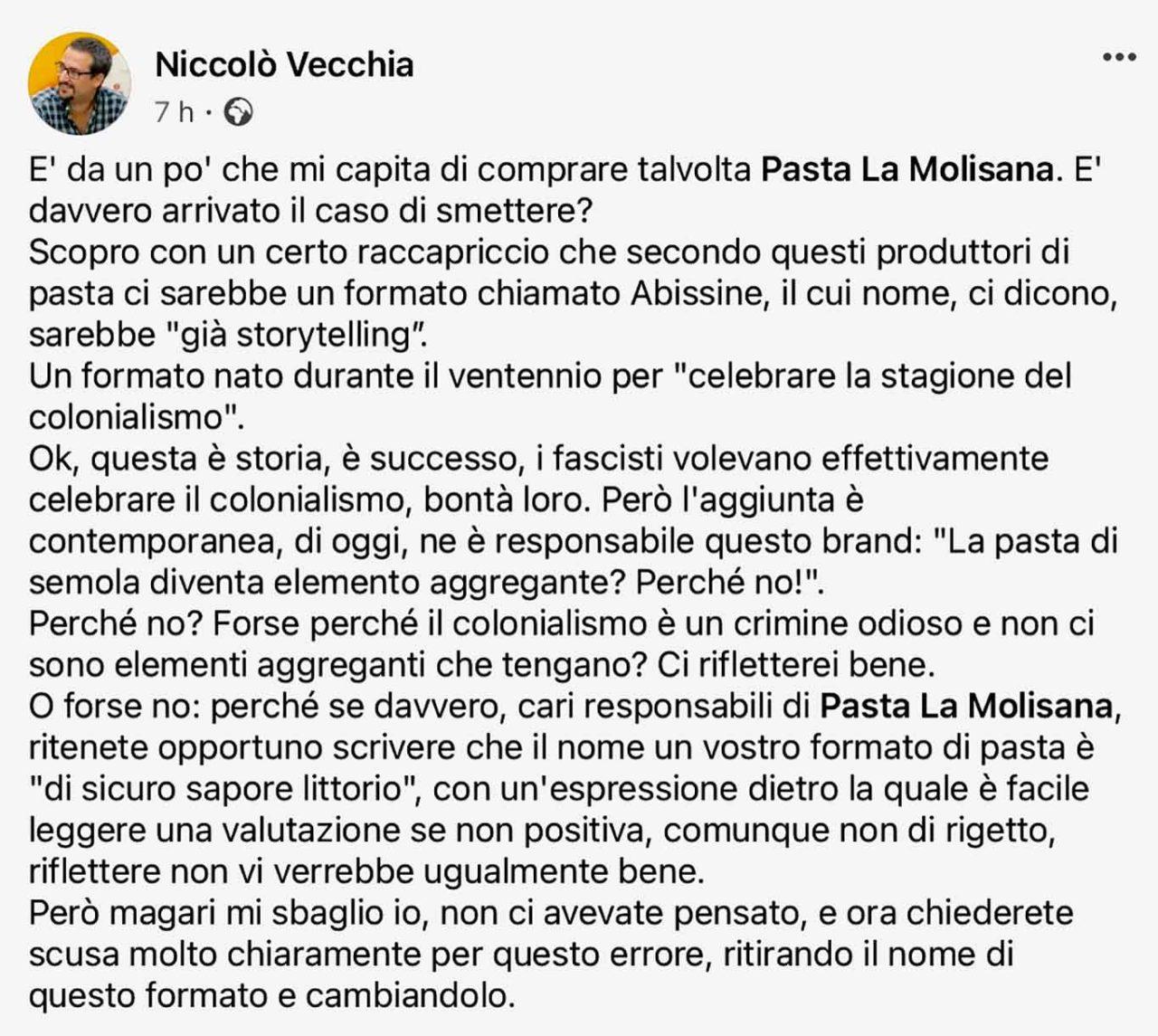 pasta La Molisana post Facebook