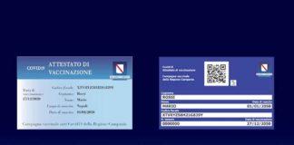 tessera vaccinati attestato di vaccinazione Covid 19 Campania