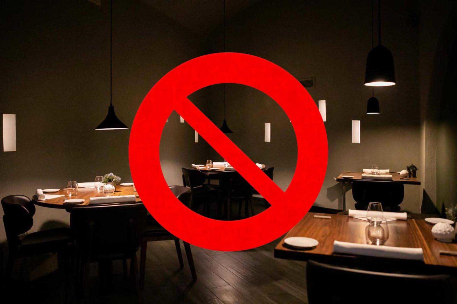 divieto ristoranti aperti la sera zona gialla