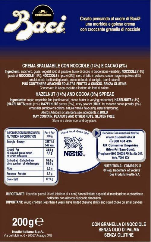 Crema basci perugina ingredienti