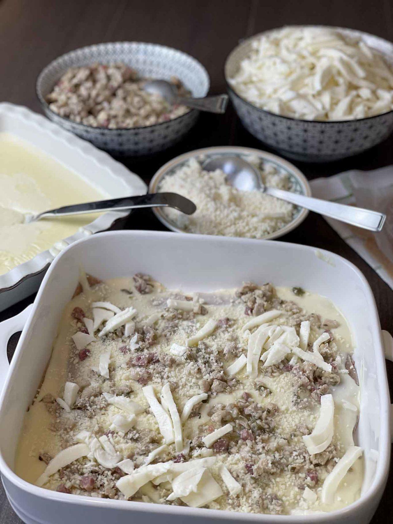 lasagne di farro con ragù di coniglio preparazione