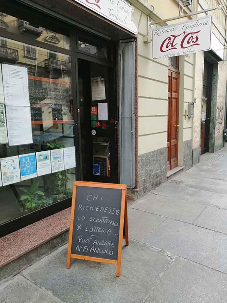 ristorante lotteria degli scontrini Torino