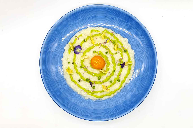 risotto Piselli Centogiorni del Vesuvio cacio uovo marinato