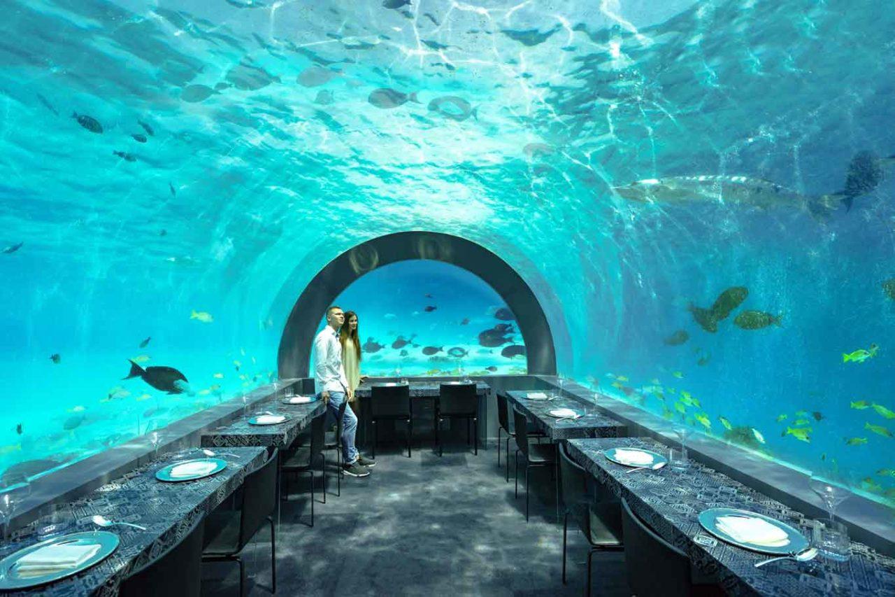 ristorante h2o maldive sala tavoli lago air madeterraneo