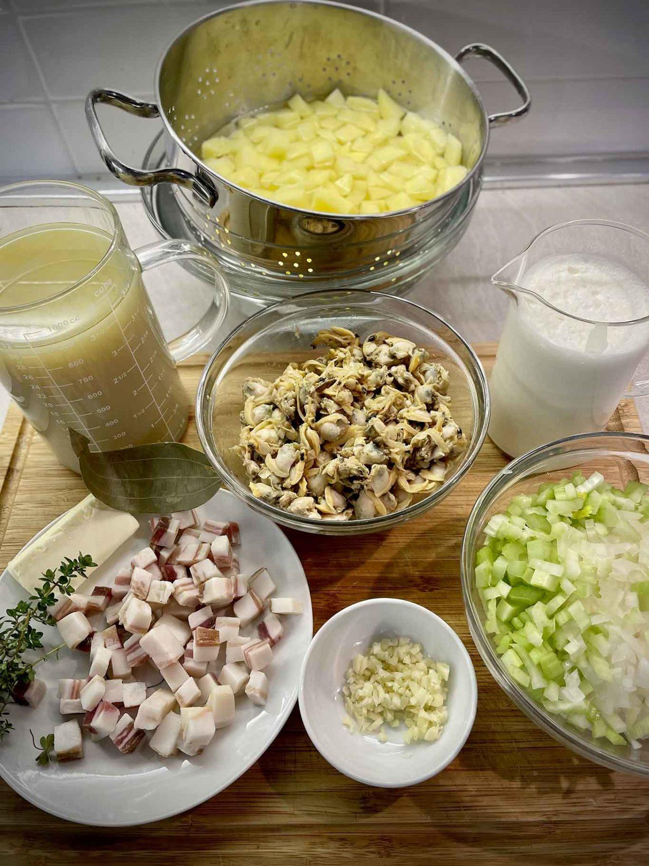 zuppa di vongole Clam Chowder ingredienti