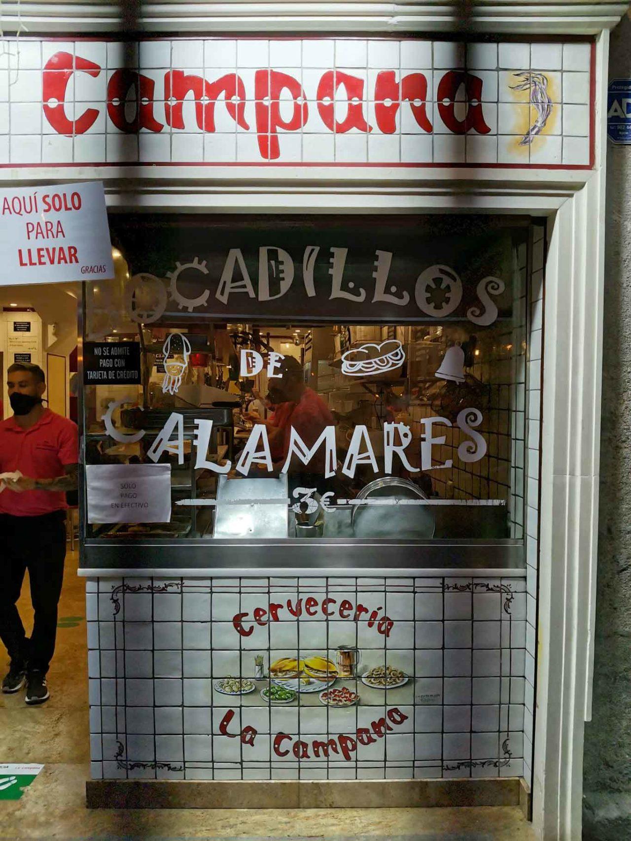 Madrid La Campana panino calamari fritti