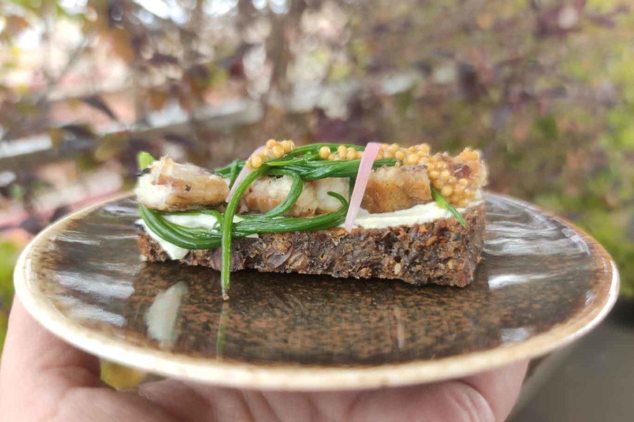 pane, caprino, anguilla cipolla caramellata ed olio extravergine di oliva Centumbrie