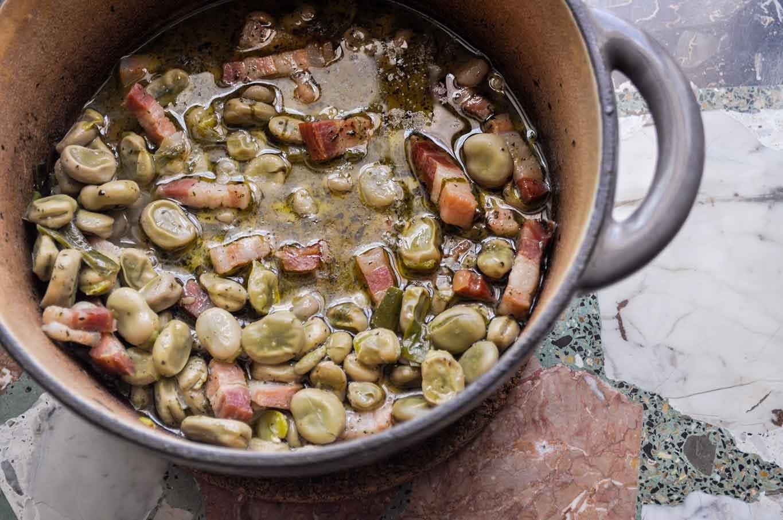 fave e pecorino ricetta con la pasta e la pancetta