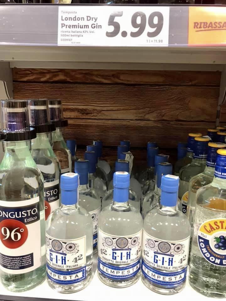 Gin lidl tempesta prezzo scaffale supermercato