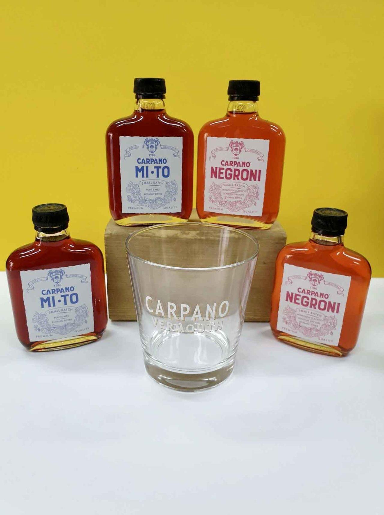 Cocktail pronti in bottiglia e busta Carpano
