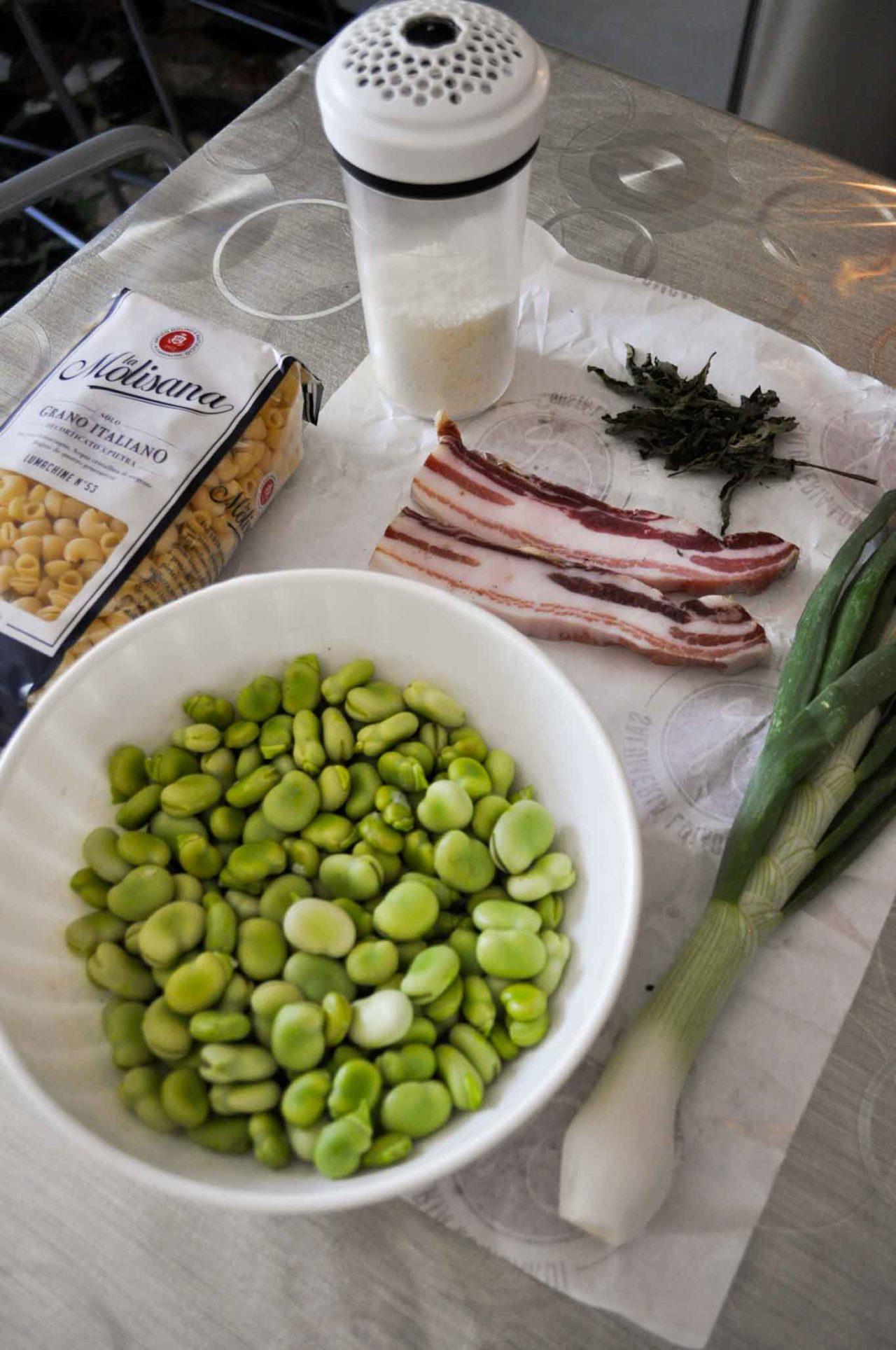 fave e pecorino con pasta e pancetta