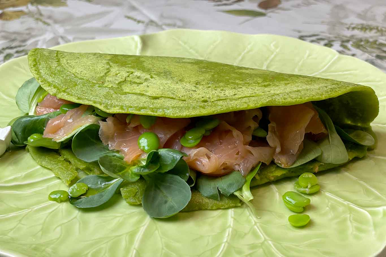 piadina con la farina di piselli salmone fave valeriana ricetta