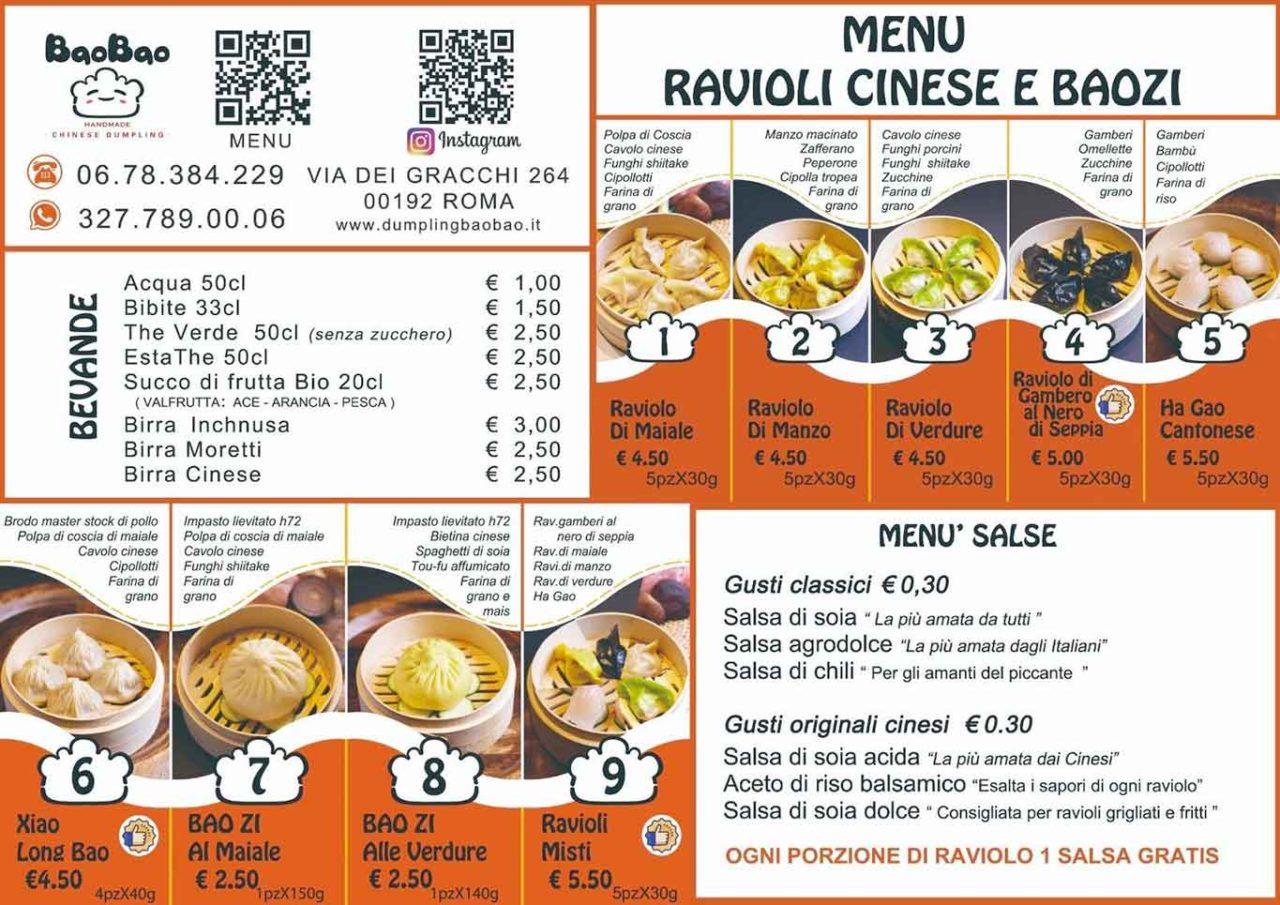 ravioli cinesi a Roma menu e prezzi Bao Bao Dumpling