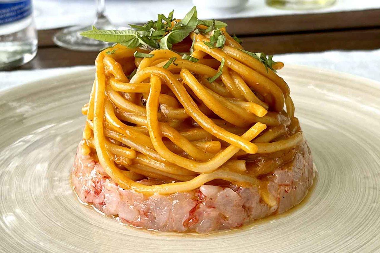 Casa Planeta La Foresteria ristorante Menfi Sicilia spaghetti tartare di gamberi