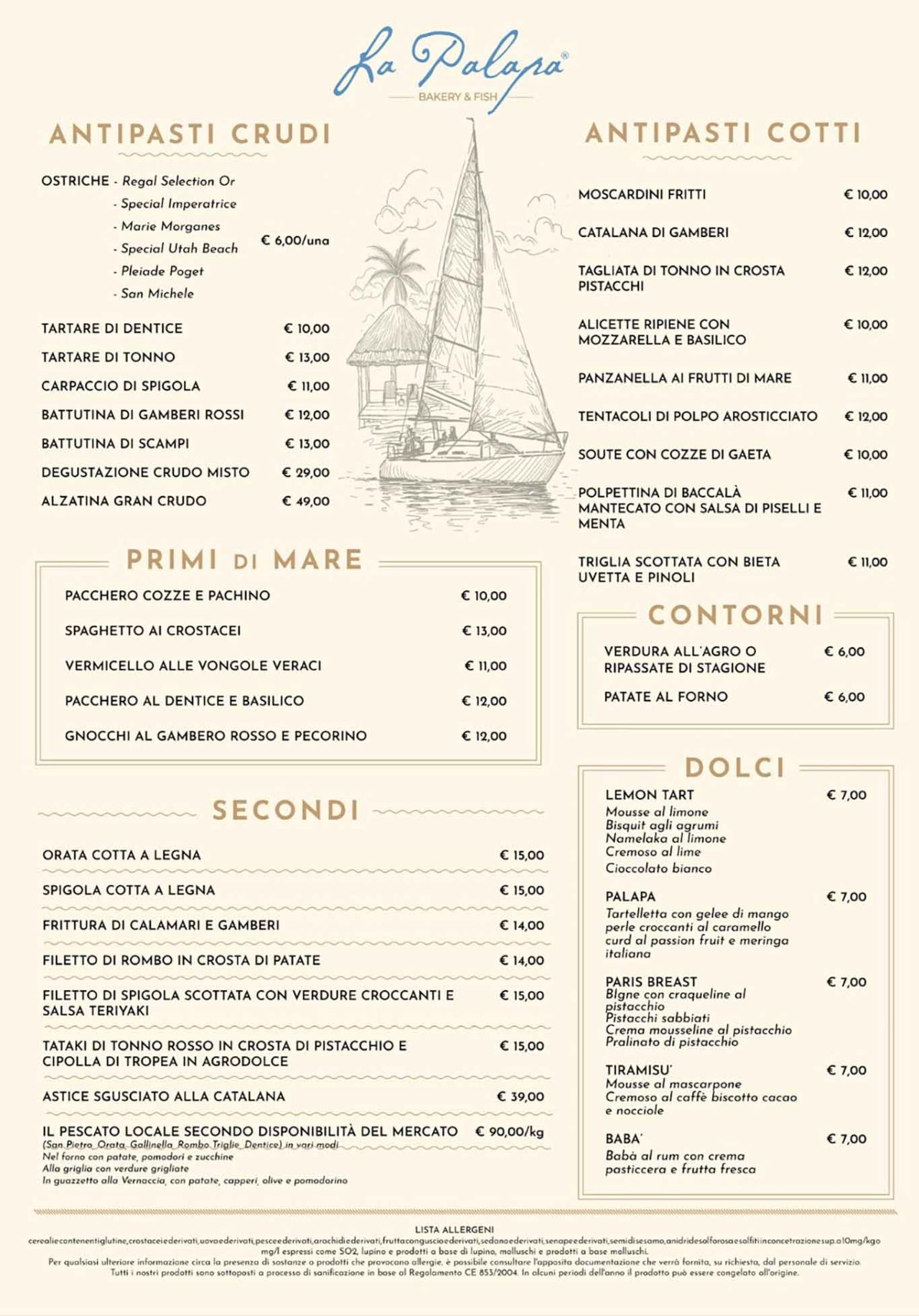 La palapa Roma menu