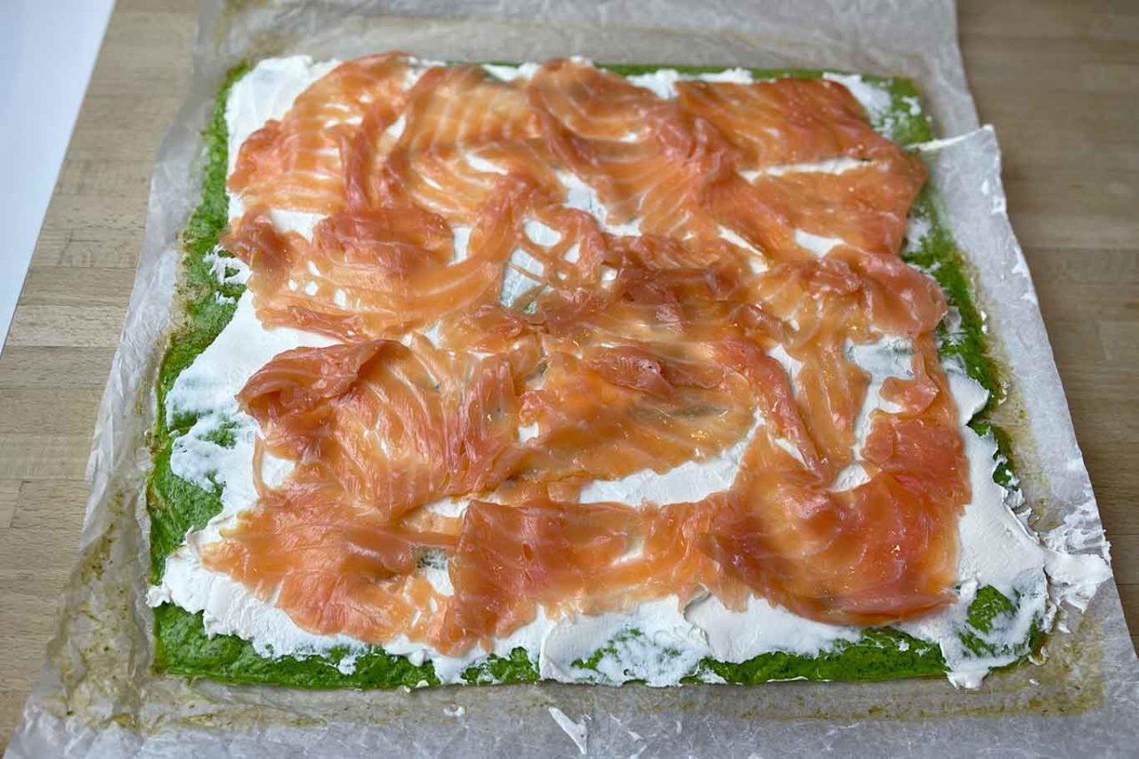 girelle rucola e salmone preparazione per chiusura