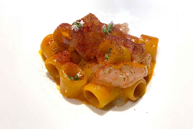 Osteria Arbustico Paestum tubettone peperoni arrosto e gamberi rossi
