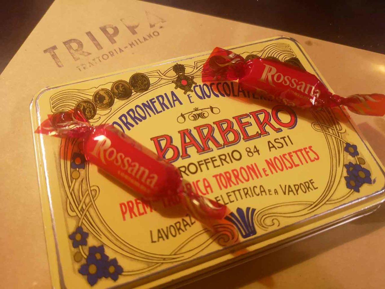 Trippa Milano osteria conto con caramelle